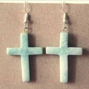 Handcrafted Jade Stone Cross Pierced Earrings